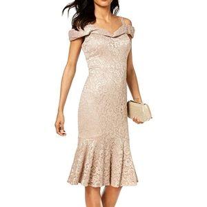 R&M Richard's champagne off shoulder dress